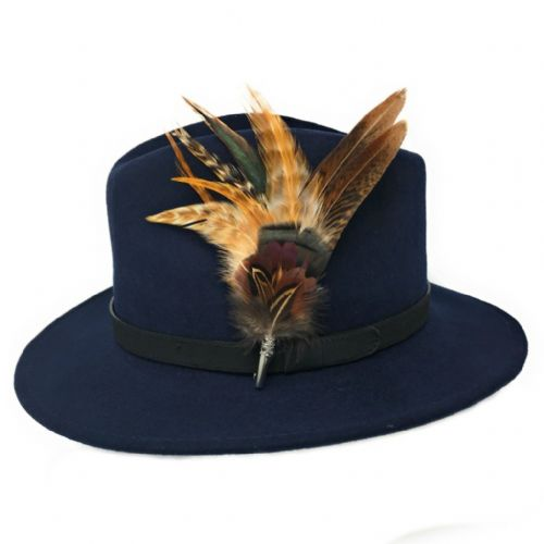 Womens  Wool Navy Fedora Hat with Leather Belt Trim and Country Feather Brooch - Naunton